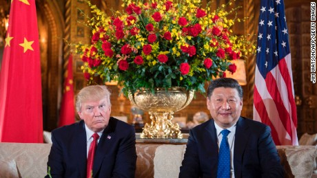 US President Donald Trump (L) sits with Xi during a bilateral meeting at the Mar-a-Lago estate in Florida, on April 6.