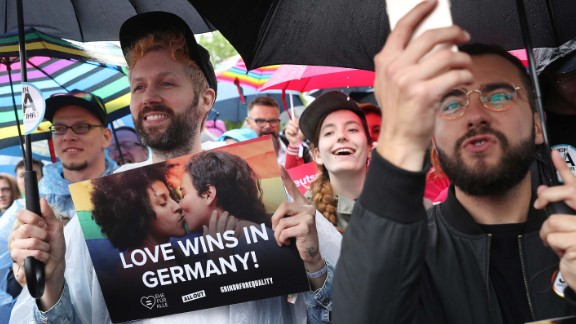 Gay rights supporters celebrate on Friday.