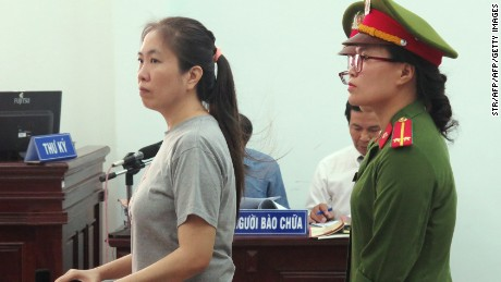 Nguyen stands trial at a courthouse in the central city of Nha Trang in June 2017.