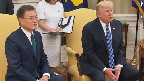 South Korea President Moon Jae-in and US President Donald Trump.