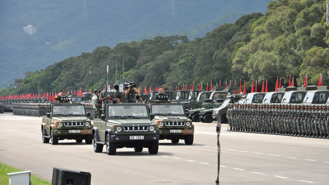 The parade was the largest since Hong Kong's handover from British to Chinese rule in 1997.