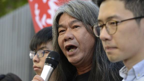 "From left to right: Hong Kong democracy activists Joshua Wong, Leung Kwok-hung aka ""Long Hair"" and Nathan Law speak at a news conference on Friday, June 30."