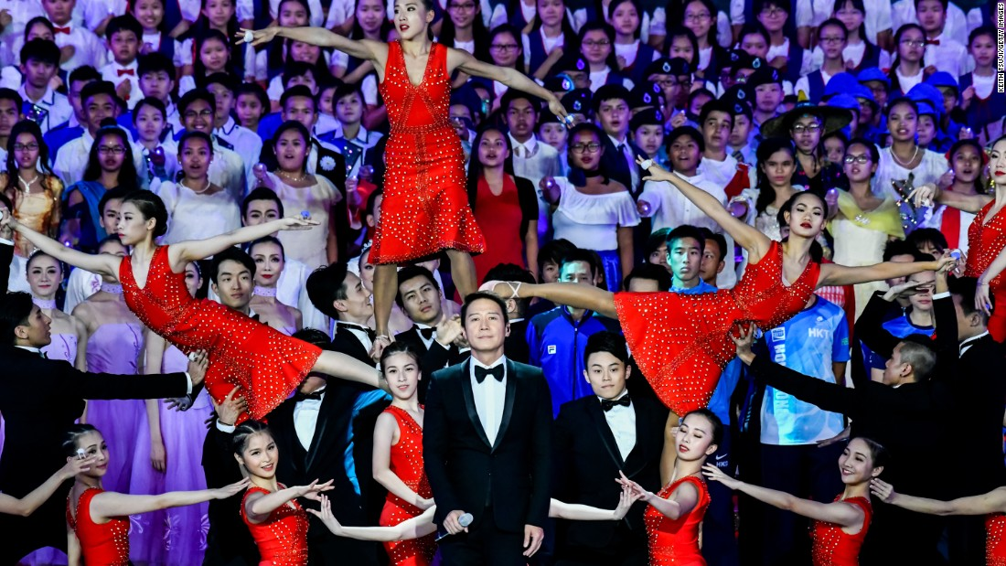 Singer Leon Lai performs at the event on June 30, 2017, surrounded by dancers.