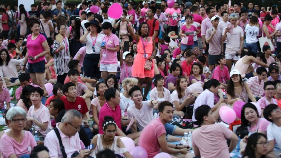 Thousands gathered at a park for the annual Pink Dot gay pride event on Saturday, July 1, in Singapore.