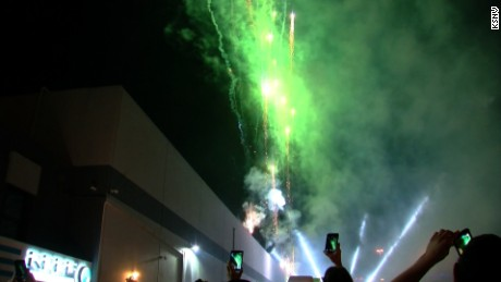 Fireworks in Las Vegas celebrate the opening of recreational marijuana sales in Nevada