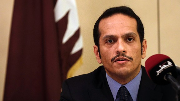 Qatari Foreign Minister Sheikh Mohammed bin Abdulrahman Al Thani, talks to journalists during a press conference in Rome, Saturday July 1, 2017. (AP Photo/Gregorio Borgia)