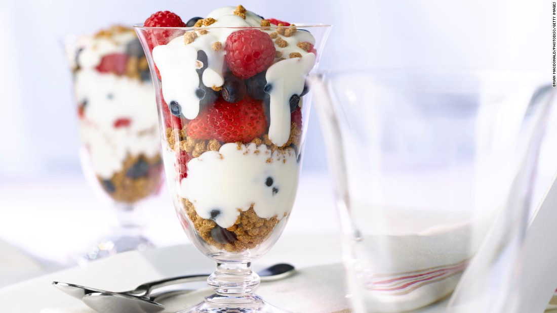 Mix Greek yogurt with berries, whole-grain granola and some nuts. Before you know it, you've added a couple of grams of fiber and had a great low-cal dessert.