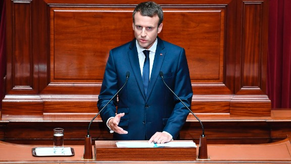 French President Emmanuel Macron speaking in Parliament earlier this year.