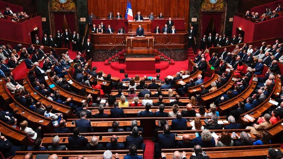 President Macron speaks during a special congress gathering both houses of parliament.