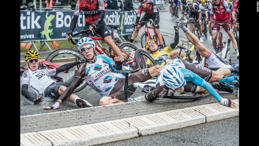 Cyclists crash during the second stage of the Tour de France on Sunday, July 2. The crash claimed several top contenders, including Chris Froome, Romain Bardet and Geraint Thomas.