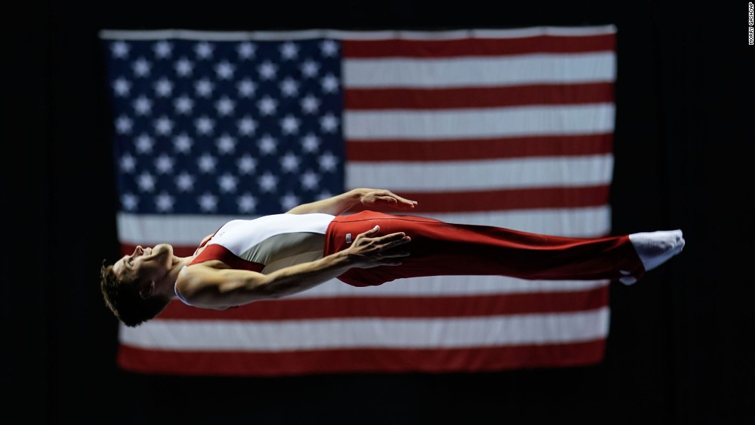 Logan Dooley performs on the trampoline during the USA Gymnastics Championships on Thursday, June 29.