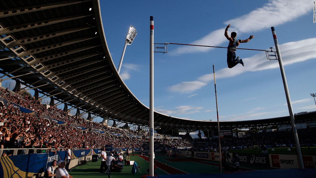 French pole vaulter Kevin Menaldo competes at the Diamond League meet in Paris on Saturday, July 1.