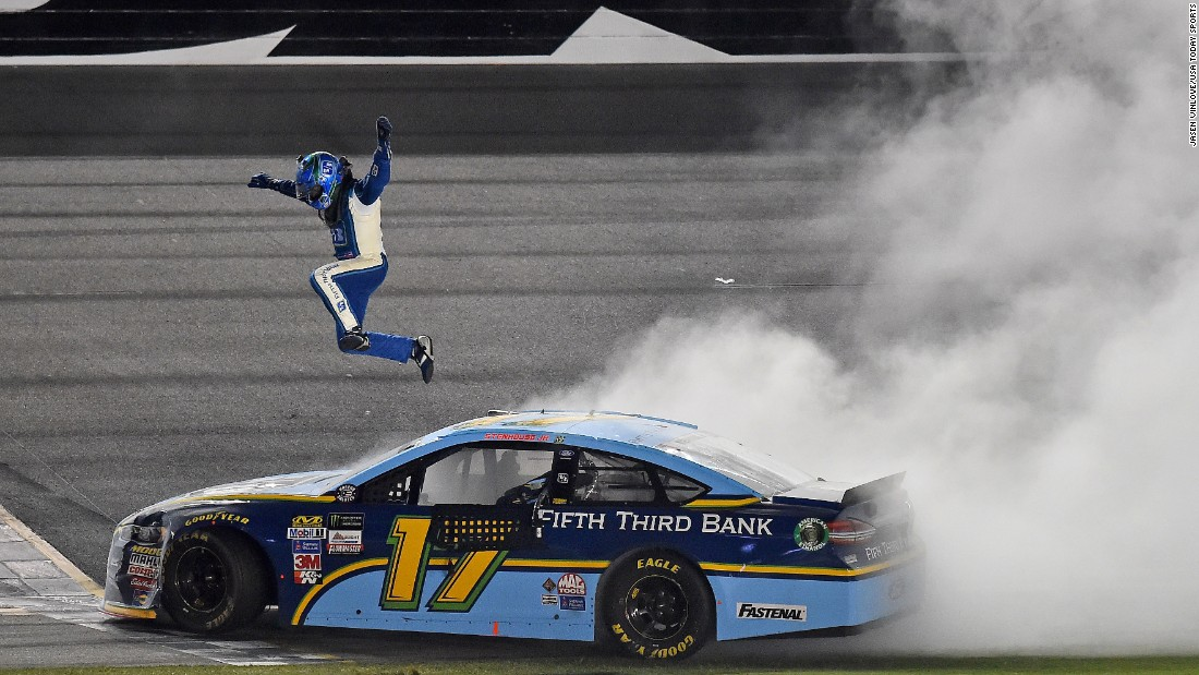 NASCAR driver Ricky Stenhouse Jr. celebrates after winning the Cup Series race at Daytona on Saturday, July 1. It is his second career win on NASCAR's top circuit.