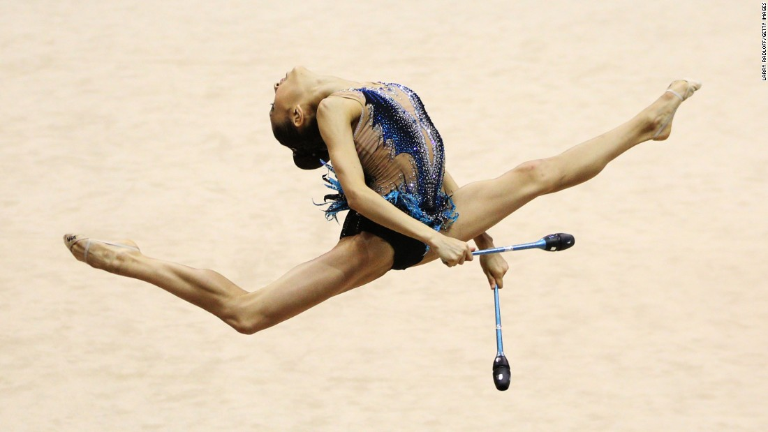 Lily Avila performs her rhythmic club routine at the USA Gymnastics Championships on Friday, June 30.
