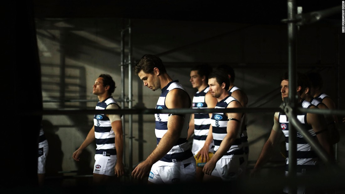 The Geelong Cats walk out for an Australian Football League match in Sydney on Saturday, July 1.