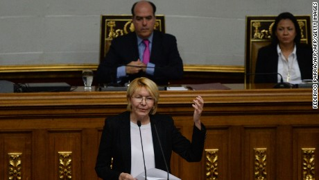Attorney General Luisa Ortega, the most high-profile official to break ranks with Venezuelan President Nicolas Maduro, speaks at during a session of the National Assembly in Caracas, on July 3, 2017. A political and economic crisis in the oil-producing country has spawned often violent demonstrations by protesters demanding Maduro's resignation and new elections. The unrest has left 89 people dead since April 1. / AFP PHOTO / Federico PARRA        (Photo credit should read FEDERICO PARRA/AFP/Getty Images)