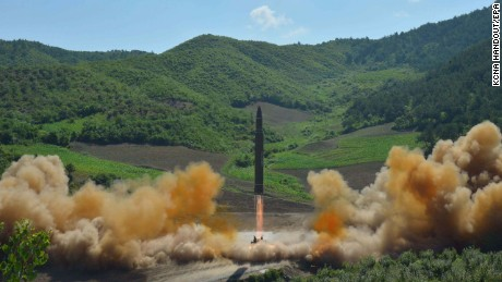 A photo from the state-run Korean Central News Agency purports to show the missile launch.