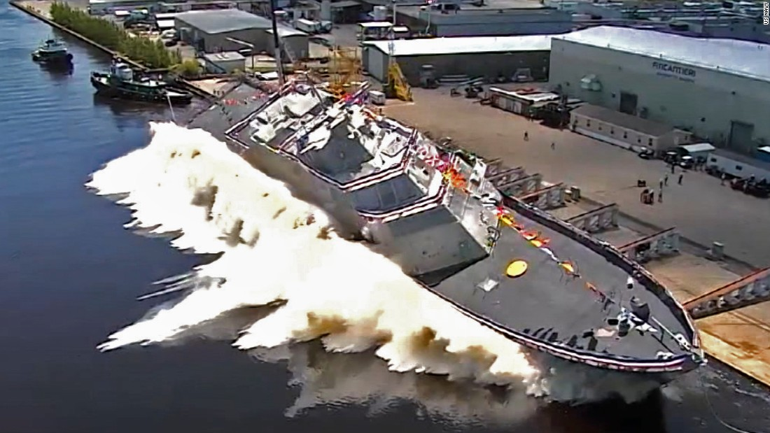image of New US Navy warship launches into river