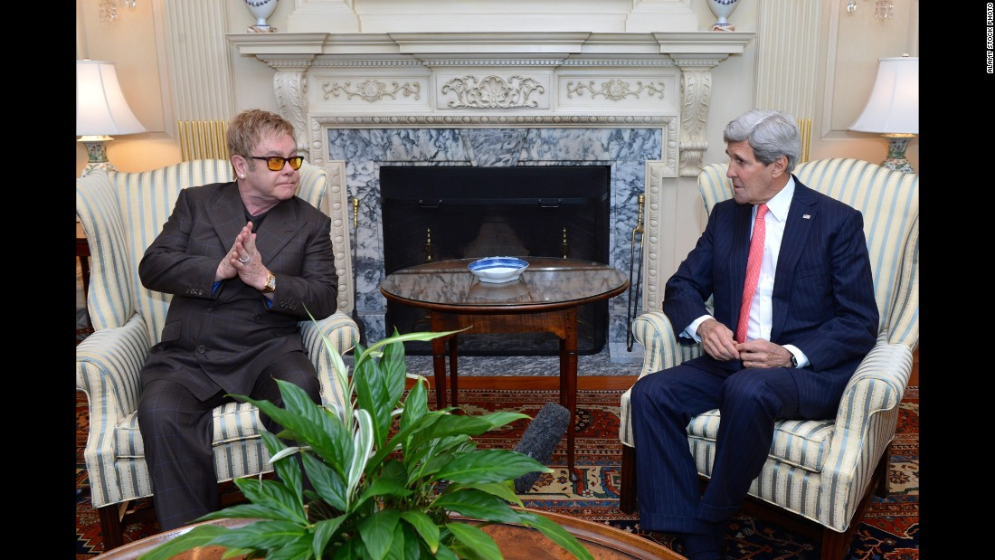 John meets with US Secretary of State John Kerry in 2014. The two talked about John's foundation as well as PEPFAR, the President's Emergency Plan for AIDS Relief.
