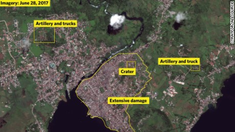Satellite imagery shows devastation of ISIS held Marawi in