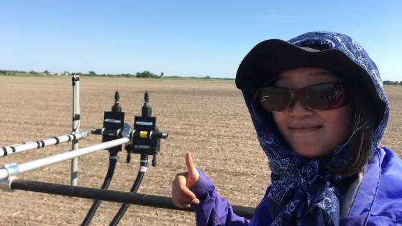Yingying Zhang working on an agricultural project in May.