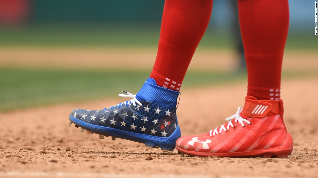 Baseball star Bryce Harper wears patriotic shoes during a Major League game in Washington.