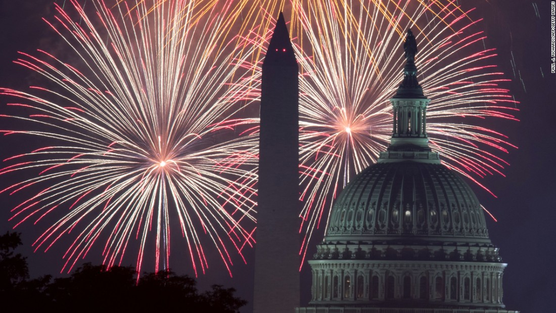 Fireworks are seen from the National Mall in Washington.