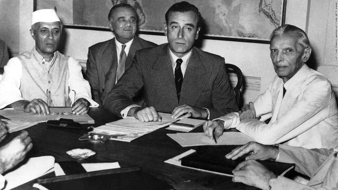 "Nehru (left), Lord Louis Mountbatten (center), Mountbatten's chief of staff Lord Ismay (center left) and Jinnah (right)  negotiate the division of India in the capital of New Delhi in June 1947. <br /><a href=""http://www.bbc.co.uk/history/historic_figures/mountbatten_lord_louis.shtml"" target=""_blank""><br />In March 1947,</a> Mountbatten became the viceroy of India, responsible for overseeing the handover of power from Britain back to its colony. <br />"