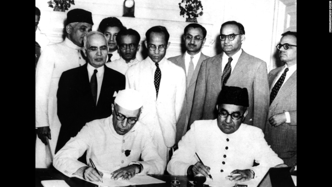 "Nehru and Liaquat Ali Khan, Pakistan's first Prime Minister, sign an <a href=""http://www.assam.gov.in/documents/1631171/0/Annexure_3.pdf?version=1.0&t=1444717496501"" target=""_blank"">agreement</a> between India and Pakistan confirming minority and refugee rights in April, 1950 in New Delhi."