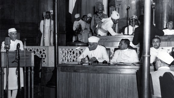 "Nehru delivers his famous ""Tryst with Destiny"" speech and declares India"