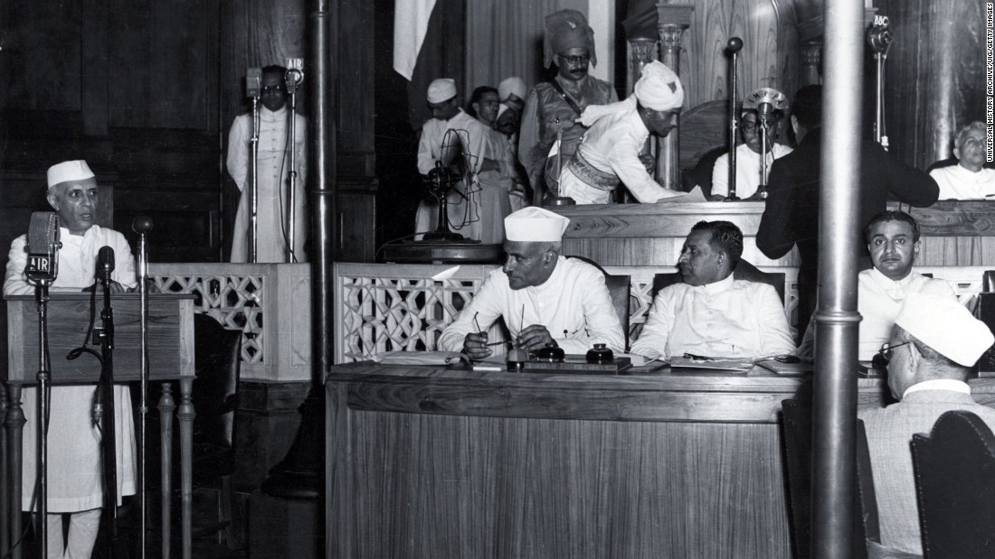 "Nehru delivers his famous ""Tryst with Destiny"" speech and declares India's independence in the Constituent Assembly in New Delhi just before midnight on August 15, 1947."