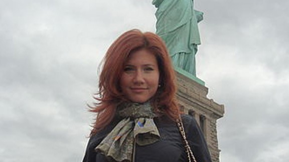 """This undated file image taken from the Russian social networking website """"Odnoklassniki,"""" or Classmates, shows Chapman ironically posing in front of New York"""