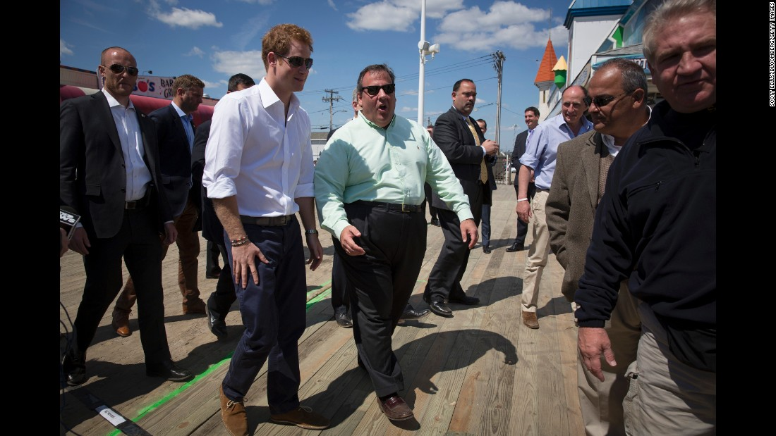 Christie walks with Britain's Prince Harry on the boardwalk in Seaside Heights, New Jersey, in May 2013. The prince was on a weeklong US tour.