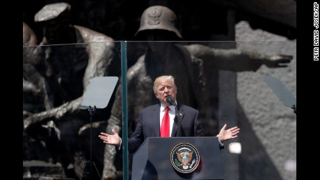 U.S. President Donald Trump delivers a speech in Krasinski Square, in Warsaw, Poland, Thursday, July 6, 2017.(AP Photo/Petr David Josek)