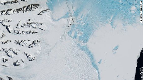 Back in November, a satellite photo revealed just 5 km of ice connected the ice sheet to Larsen C.