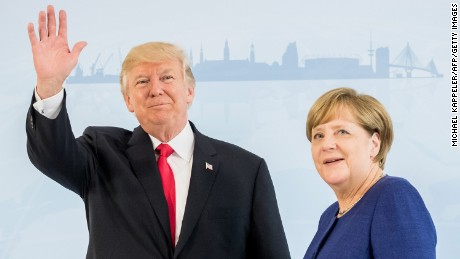 German Chancellor Angela Merkel (R) and US President Donald Trump  pose prior to a bilateral meeting on the eve of the G20 summit in Hamburg, northern Germany, on July 6, 2017. Leaders of the world's top economies will gather from July 7 to 8, 2017 in Germany for likely the stormiest G20 summit in years, with disagreements ranging from wars to climate change and global trade. / AFP PHOTO / POOL / Michael Kappeler / ALTERNATIVE CROP         (Photo credit should read MICHAEL KAPPELER/AFP/Getty Images)
