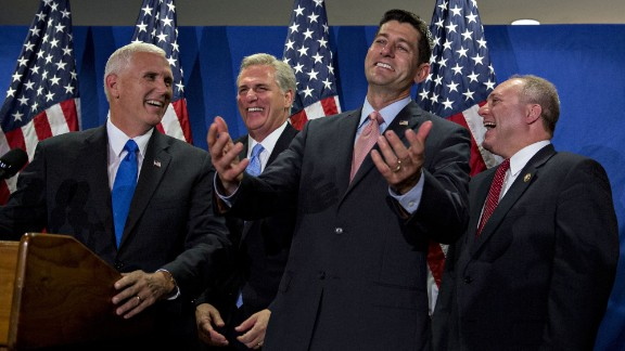 Scalise, right, laughs during a September news conference at the headquarters of the Republican National Committee. From left are vice presidential nominee Mike Pence, House Majority Leader Kevin McCarthy and House Speaker Paul Ryan.