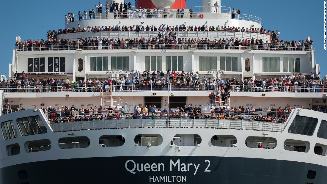 Cruise liner Queen Mary 2 arrived in western France, on June 24, 2017. It was the day before the start of The Bridge 2017, a transatlantic race between the vessel and the world's fastest trimarans from Saint-Nazaire, France to New York. It was part of an event to mark 100 years since American troops arrived in France during World War One.