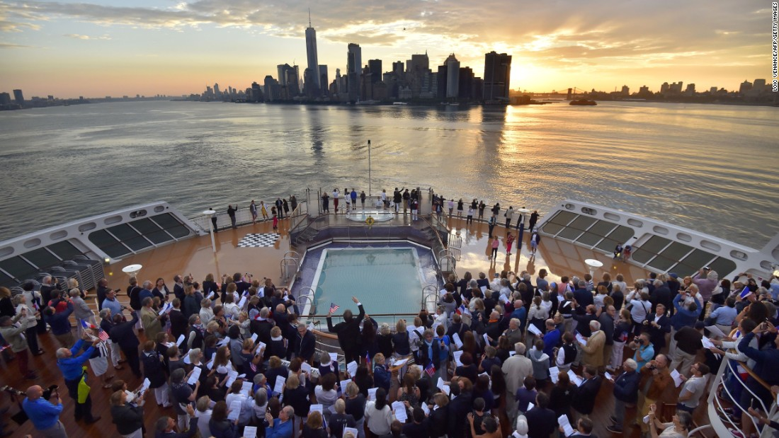 The scene aboard the QM2 as it arrived in New York on July 1.