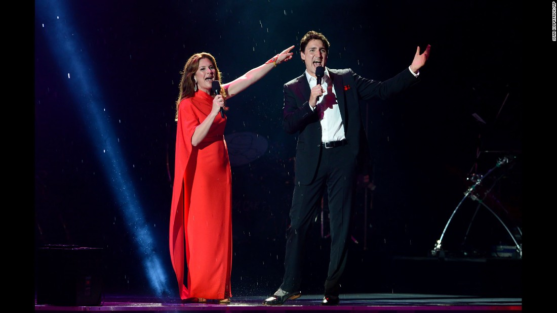 Canadian Prime Minister Justin Trudeau and his wife, Sophie, appear on stage during a Canada Day ceremony in Ottawa on Saturday, July 1. Canada was celebrating its 150th birthday.