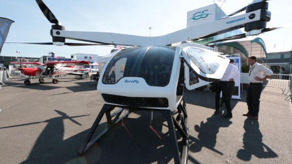 With eight rotors and two seats, the SureFly is one of the larger drone taxi prototypes out there. Touted as a replacement for the helicopter, its makers aim for a competitive target price of $200,000. Watch more.