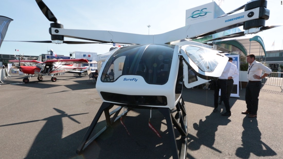 "With eight rotors and two seats, the SureFly is one of the larger drone taxi prototypes out there. Touted as a replacement for the helicopter, its makers aim for a competitive target price of $200,000. <a href=""https://edition.cnn.com/videos/cnnmoney/2017/07/07/surefly-octocopter-personal-drone-concept-sje-lon-orig.cnnmoney""><strong>Watch more.</a></strong>"