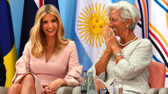 the daughter of the US President Ivanka Trump and the Managing Director of the International Monetary Fund (IMF) Christine Lagarde attend the Women