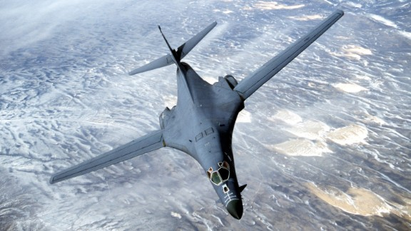 A B-1B Lancer from the U.S. Air Force 28th Air Expeditionary Wing heads out on a combat mission in support of strikes on Afghanistan in this image released December 7, 2001. A B-1 Bomber, similar to the one shown here, has gone down in the Indian Ocean December 12, 2001 according to a Pentagon spokesman. According to early reports, the crew of the aircraft was rescued. (Photo Courtesy USAF/Getty Images)