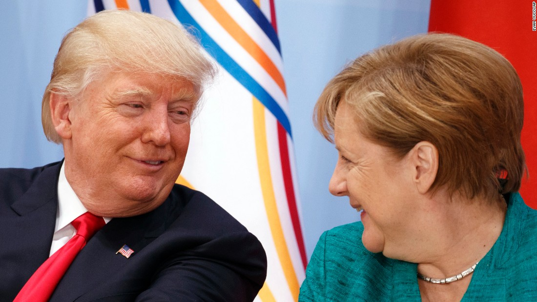 Trump shares a laugh with German Chancellor Angela Merkel during a women's entrepreneurship finance event July 8 at the G20.
