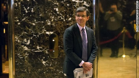 Journalist George Stephanopoulos emerges from the elevators following a visit to Trump Tower on November 21, 2016 in New York City.