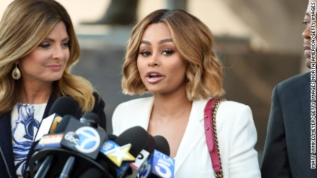LOS ANGELES, CA - JULY 10:  (L-R) Lisa Bloom, Blac Chyna and Walter Mosley speak during a pre-court hearing press conference at Los Angeles Superior Court on July 10, 2017 in Los Angeles, California.  (Photo by Matt Winkelmeyer/Getty Images)