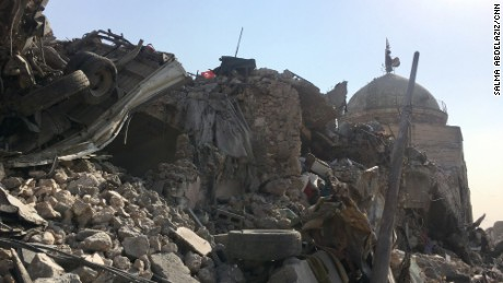 Mounds of rubble near a destroyed mosque just 50 meters from the Tigris River.