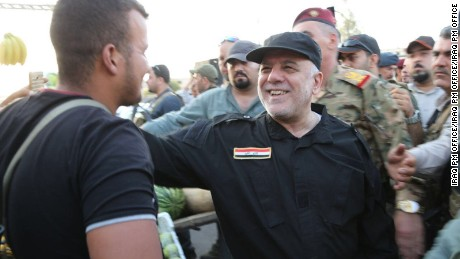 Iraqi Prime Minister Haidar al-Abadi during a visit to Mosul after Iraqi and US forces wrested control of the city back from the Islamic State.