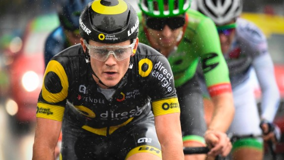 France's Thomas Boudat rides in the rain in a breakaway during the second stage of the 104th edition of the Tour de France.